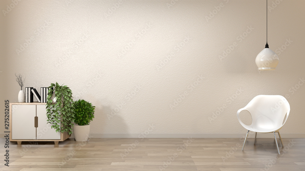 Fototapeta zen living room empty white wall background with decoration japan style. 3d rendering