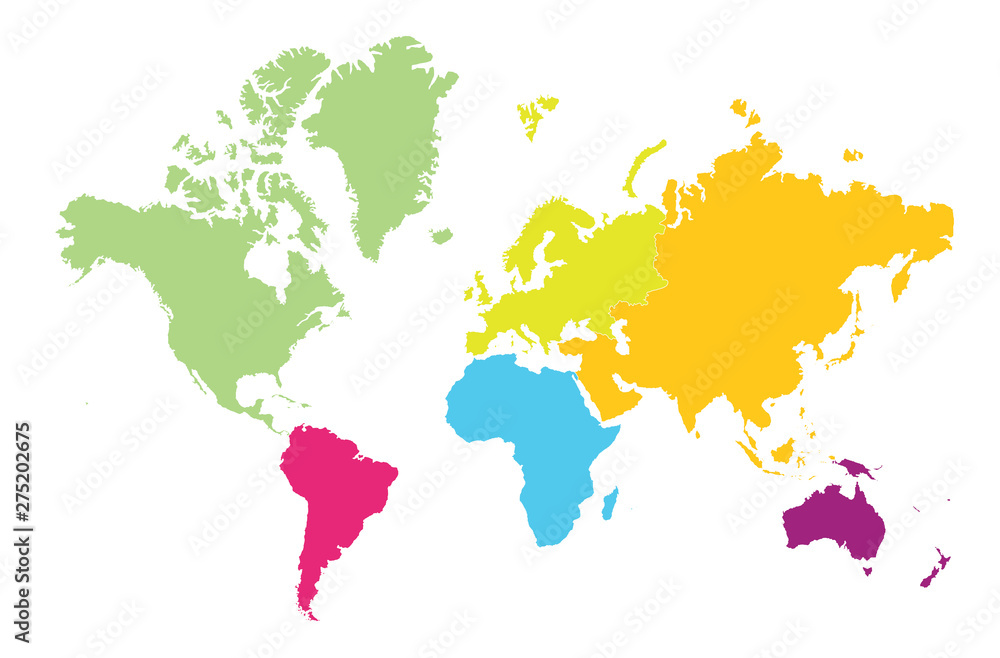 Fototapety, obrazy: World map divided by continent on white background.