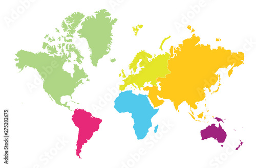 World map divided by continent on white background. Fototapet