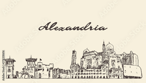 Alexandria skyline Egypt hand drawn vector sketch Canvas Print