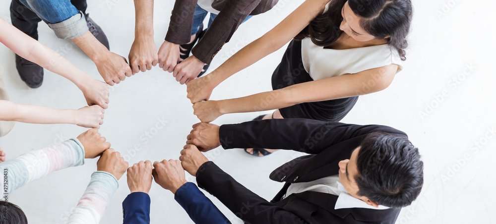 Fototapeta Creative team meeting hands synergy brainstorm business man woman in circle top view on white background. Support teamwork acquisition together international diversity harmony people concept banner