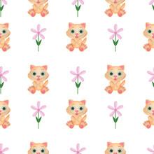 Seamless Pattern Animals Watercolor Children Illustration Cat Flowers Design Children's Rooms Wallpaper Textiles Digital Paper