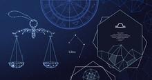 Zodiac Sign Libra. The Symbol Of The Astrological Horoscope. Horizontal Banner.
