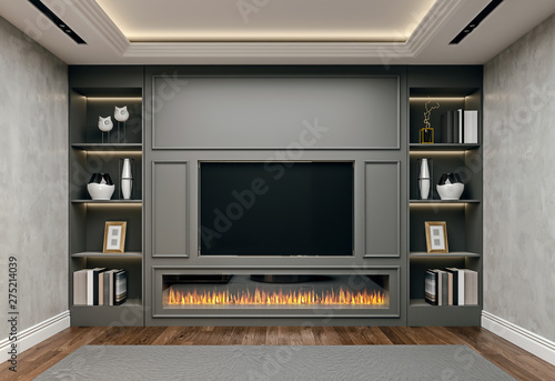 Modern Interior Design Of Living Room In Basement Close Up