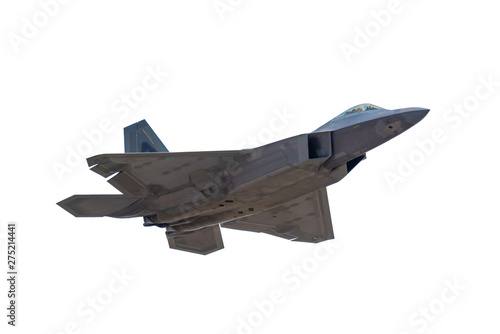 Photo Advanced Tactical Fighter Jet Flying Overhead on White