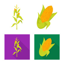 Vector Design Of Cornfield And Vegetable Logo. Collection Of Cornfield And Vegetarian Stock Symbol For Web.