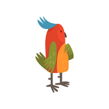 Cute Funny Bird Cartoon Character With Bright Colorful Feathers And Tuft Vector Illustration