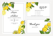 Set Of Botanical Wedding Lemon...