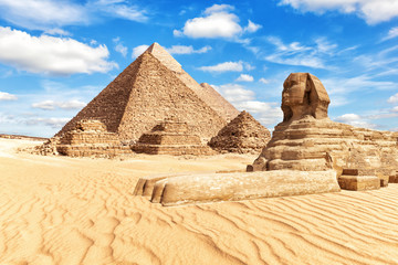 View on the Great Sphinx and the Pyramids in Giza