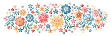 Horizontal Pattern With Colorful Embroidered Flowers On White Background. Panoramic Floral Embroidery.