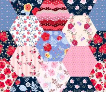 Hexagonal Patchwork Pattern Wi...