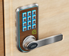 Digital Security Keypad And Knob On Door. 3D Illustration