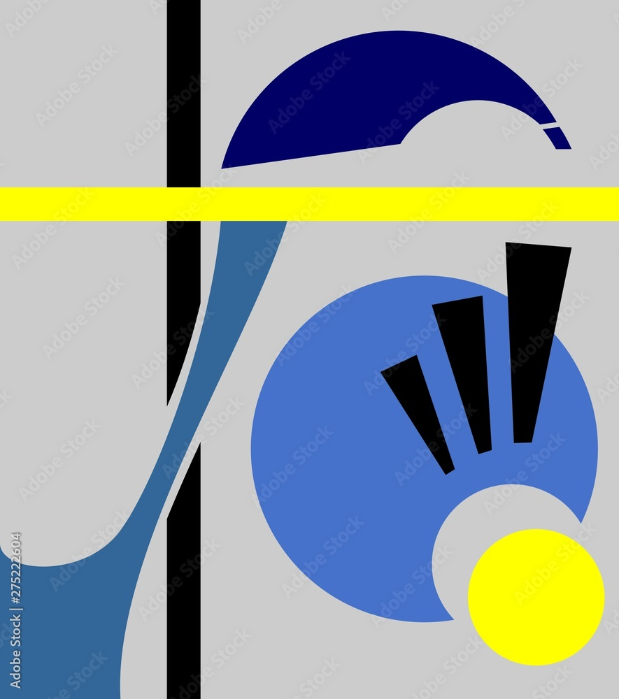 Abstract geometric background, cubism art style, simple shapes and forms. Illustration of an eye looking down, amazement concept.