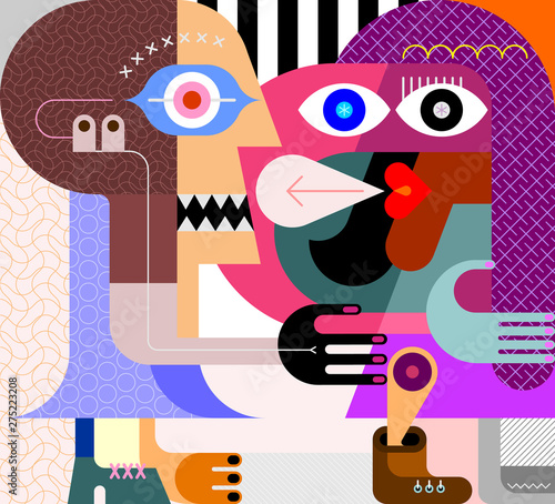 Fotoposter Abstractie Art Two Women Portrait vector illustration