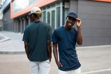 African Men Models Posing In T-shirts At City