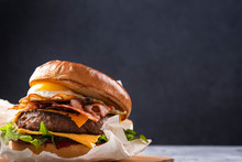 Juicy Burger With Fried Egg And Bacon. Street Food. Fastfood. Copy Space