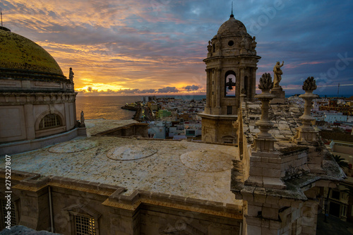 Garden Poster Old building Cadiz Cathedral from East Tower Sunset Andalucia Spain