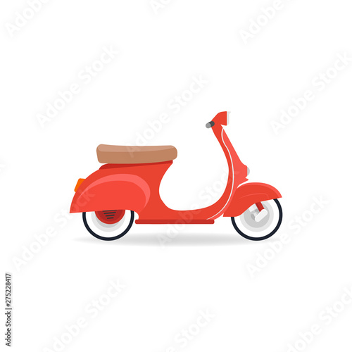 Red vintage scooter isolate on white background Fototapeta