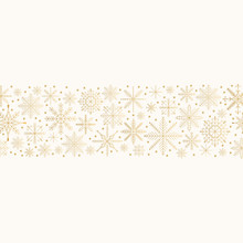 Gold Merry Christmas Frame With Snowflakes And Stars. Glitter Holiday Borders. Vector Isolated Illustration.