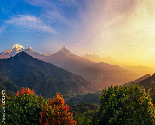 Poster Marron chocolat Colorful sunrise over Himalaya mountains in Nepal