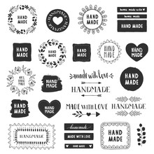 Handmade Labels. Made With Love Badges. Vintage Design Elements. Vector. Isolated.