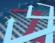 Financial economy stock market arrow, career success and stock market statistics chart