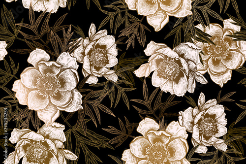 Seamless pattern with peonies and leaves. Black, white and gold foil print.