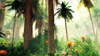 Fototapeta Egzotyczne Blooming jungle in the fog, flowers among palm trees, palm trees in the fog