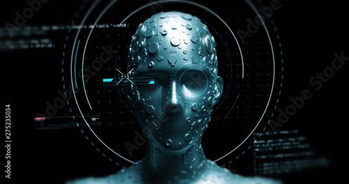 Advanced AI Robot Reads Data From Futuristic Hud - Technology Related 3D Illustr Poster Mural XXL