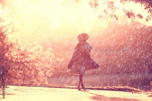 plakat summer rain romance girl happiness / weather rain, summer mood, happy cheerful woman model