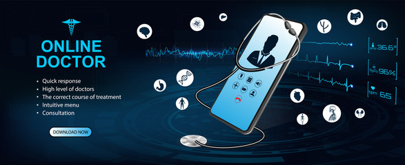 Concept of telemedicine and e-health. Doctor online. Consultation with the doctor through the screen of the phone. Graphic of realistic smartphone device with stethoscope and interface elements.