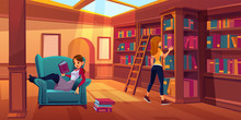 Women In Library Reading And S...