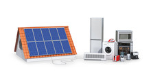 Concept Of Electricity From Solar Panels. Appliances. 3d Illustration