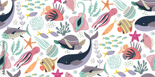 obraz lub plakat Vector seamless pattern with fish and sea animals.