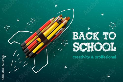 Fotografie, Obraz  Back to school creative banner