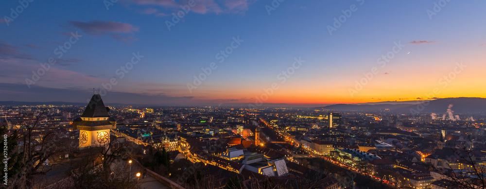 Fototapety, obrazy: Graz bei Nacht, Österreich