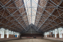 Wooden Roof In The Hangar For Horses.