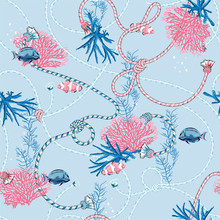 Cute Sweet Pastel Seamless Pattern With  Hand Drawn Corals Golden ,and Treasure Animal,fishes, Ropes And Pearls On  Light Blue Background.