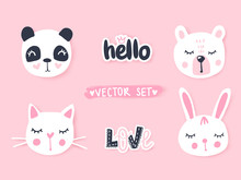 Vector Set With Cartoon Animals - Panda, Cat, Bear, Bunny. Adorable Animals And Inscriptions.