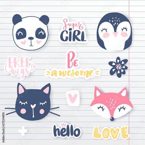 Vector set with cartoon animals - panda, penguin, cat, bear, bunny.