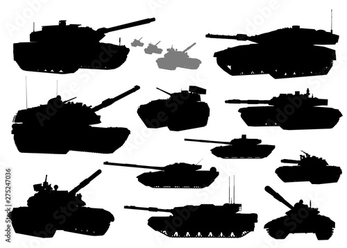 Military.Tank vector silhouettes Canvas Print