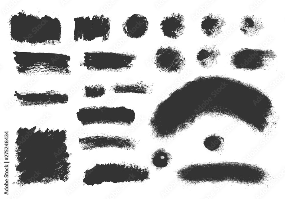 Fototapety, obrazy: Vector grunge elements. Set of grungy hand drawn backgrounds, frames isolated on white. Chinese, Japanese, Korean ink brush strokes. Vector