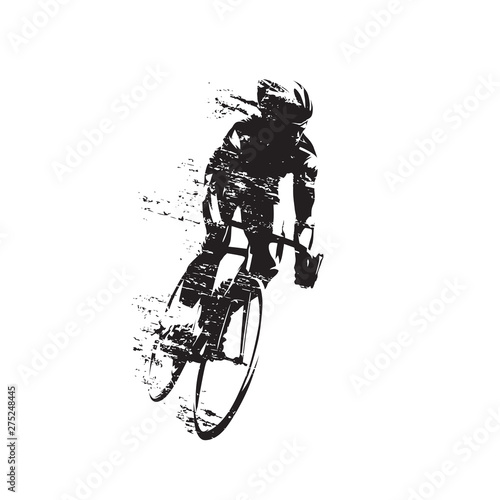 Cycling, road cyclist rides bike, front view isolated vector silhouette