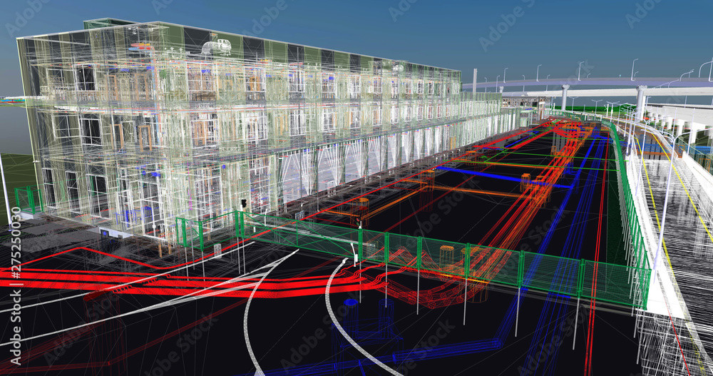 Fototapety, obrazy: The BIM model of the of civil infrastructure object  of wireframe view