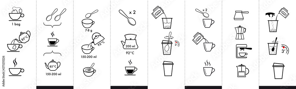 Fototapeta Set of methods of brewing tea and coffee. Preparation instructions. Vector elements for infographics. Set of sign for detailed guideline. Ready for your design.