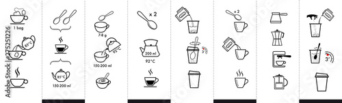 Photo Set of methods of brewing tea and coffee