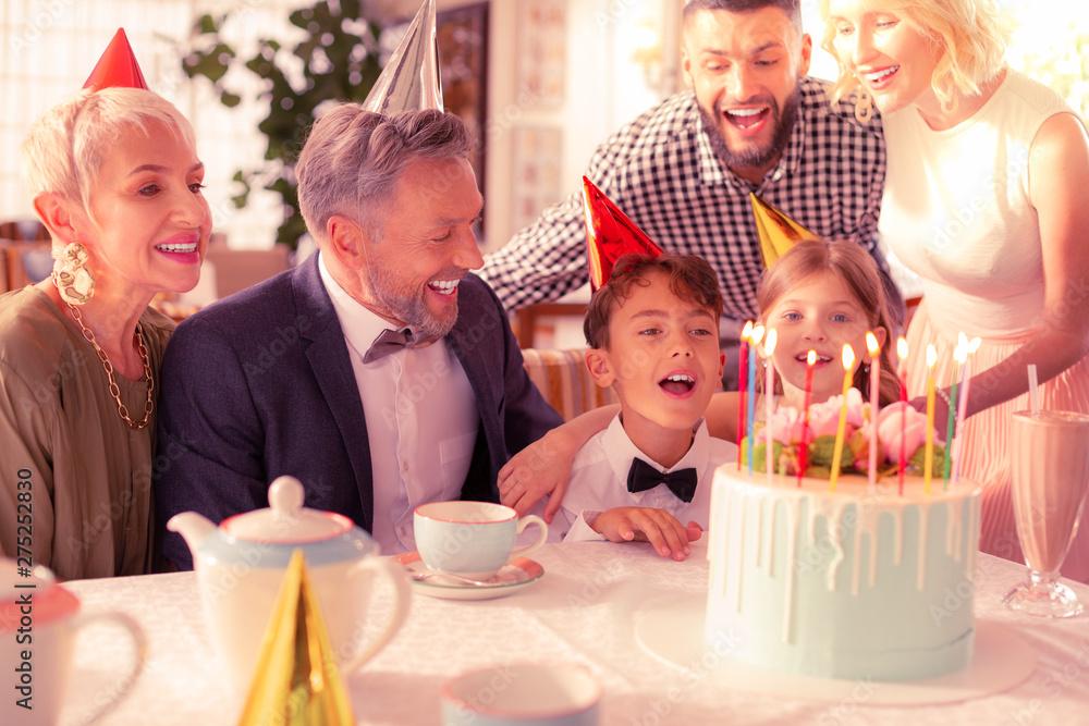 Fototapety, obrazy: Birthday boy spending birthday with his big happy family