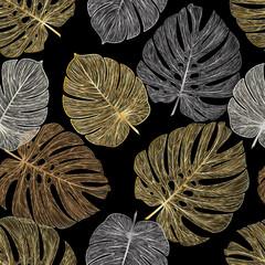 FototapetaSeamless pattern with tropical leaf palm . Vector illustration. EPS 10