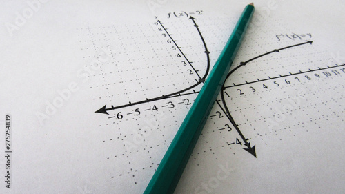 Fotografia  Graphical representation of math functions and a pencil