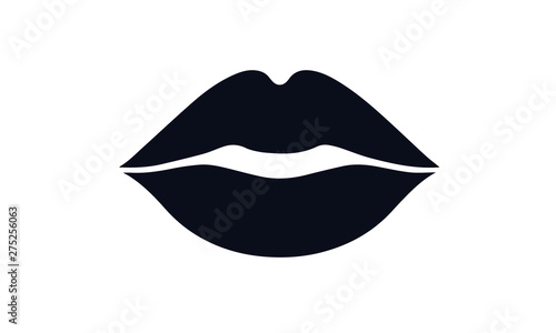 Fotografie, Tablou  lips kiss vector design black and white icon illustration